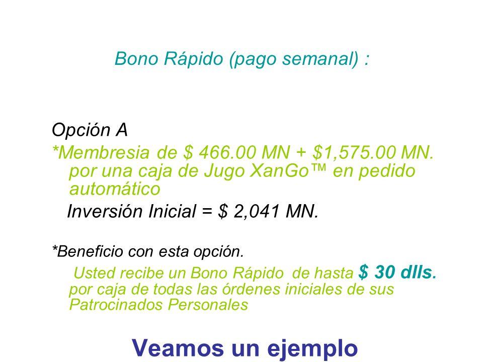 Bono Rápido (pago semanal) :