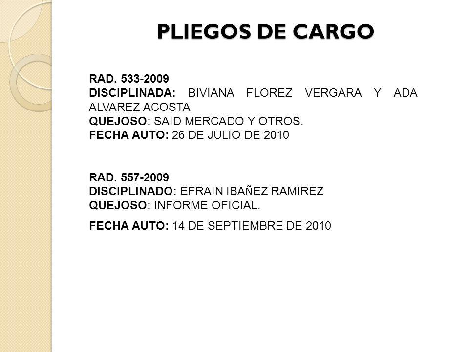 PLIEGOS DE CARGO RAD. 533-2009. DISCIPLINADA: BIVIANA FLOREZ VERGARA Y ADA ALVAREZ ACOSTA. QUEJOSO: SAID MERCADO Y OTROS.