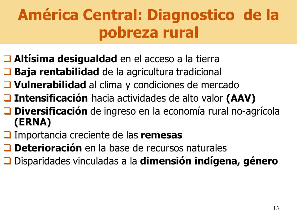 América Central: Diagnostico de la pobreza rural