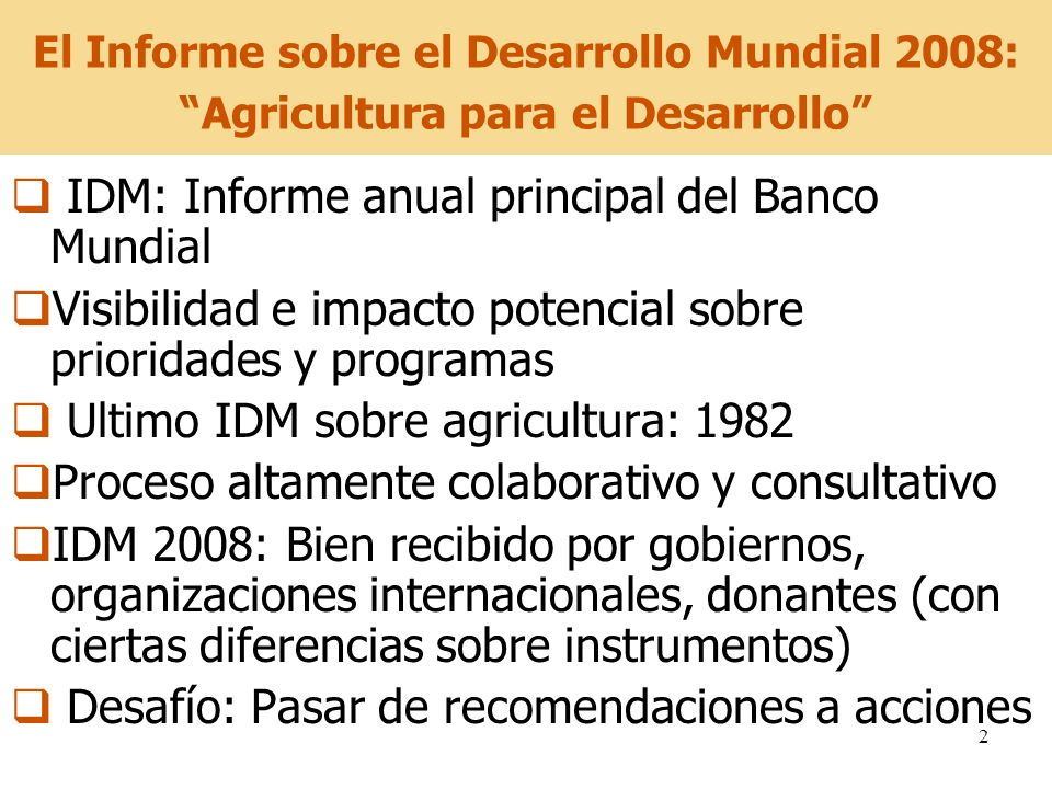 IDM: Informe anual principal del Banco Mundial