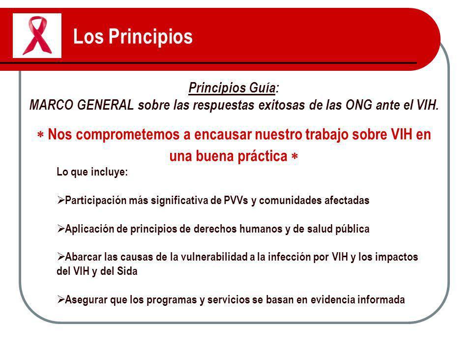 MARCO GENERAL sobre las respuestas exitosas de las ONG ante el VIH.