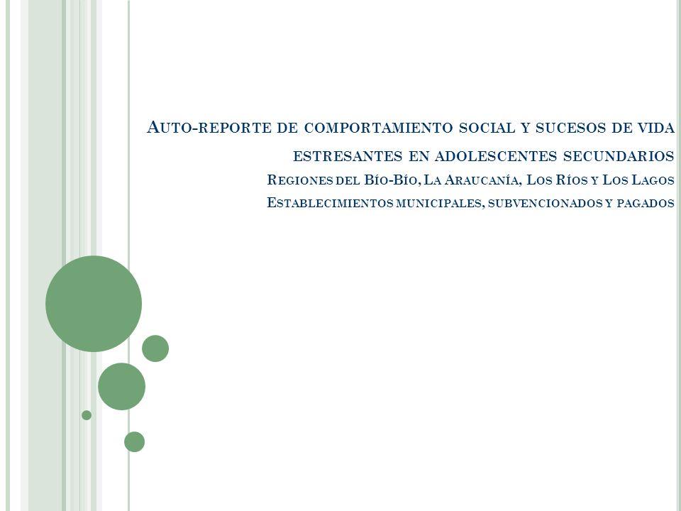 Auto-reporte de comportamiento social y sucesos de vida estresantes en adolescentes secundarios Regiones del Bío-Bío, La Araucanía, Los Ríos y Los Lagos Establecimientos municipales, subvencionados y pagados