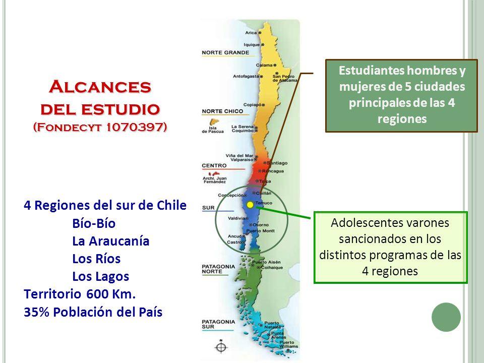 Estudiantes hombres y mujeres de 5 ciudades principales de las 4 regiones