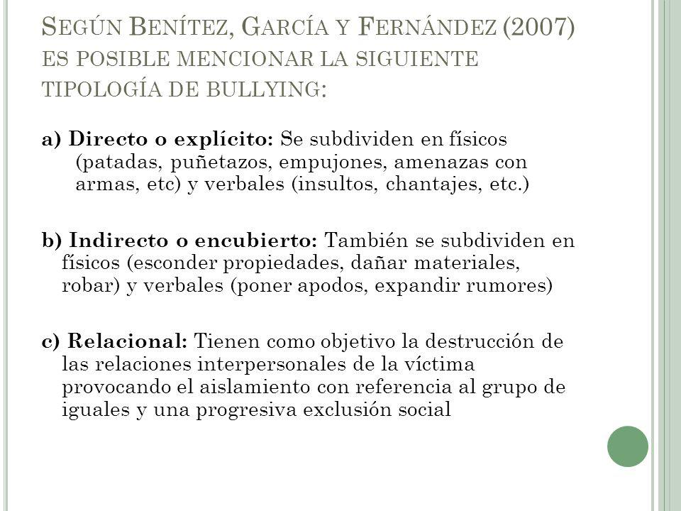 Según Benítez, García y Fernández (2007) es posible mencionar la siguiente tipología de bullying: