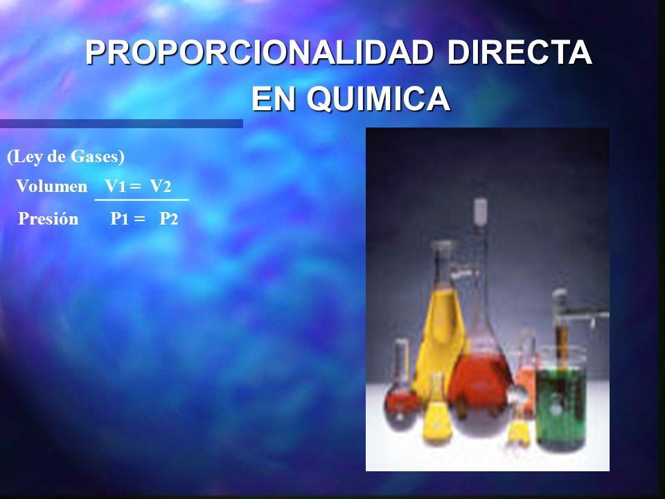 PROPORCIONALIDAD DIRECTA EN QUIMICA