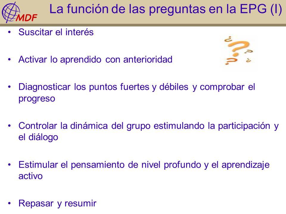 La función de las preguntas en la EPG (I)