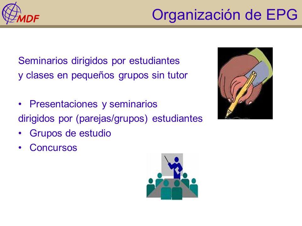 Organización de EPG Seminarios dirigidos por estudiantes