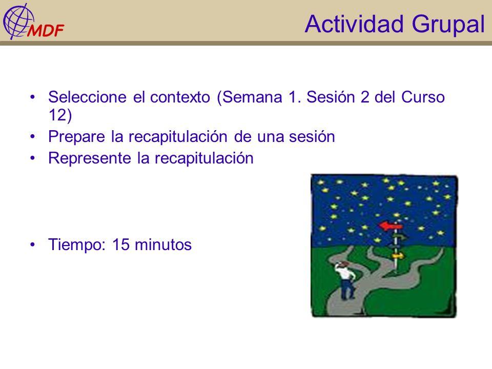 Actividad Grupal Seleccione el contexto (Semana 1. Sesión 2 del Curso 12) Prepare la recapitulación de una sesión.