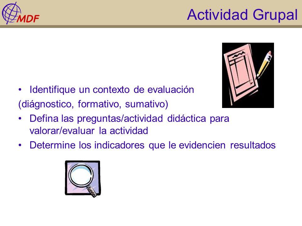 Actividad Grupal Identifique un contexto de evaluación