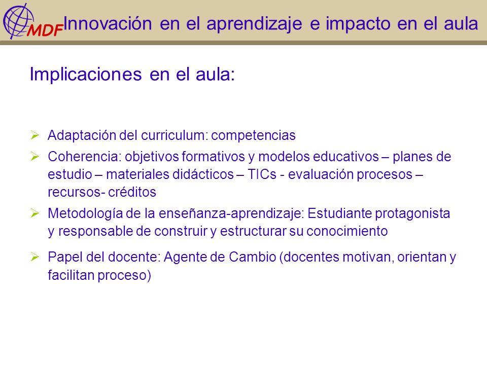 Innovación en el aprendizaje e impacto en el aula