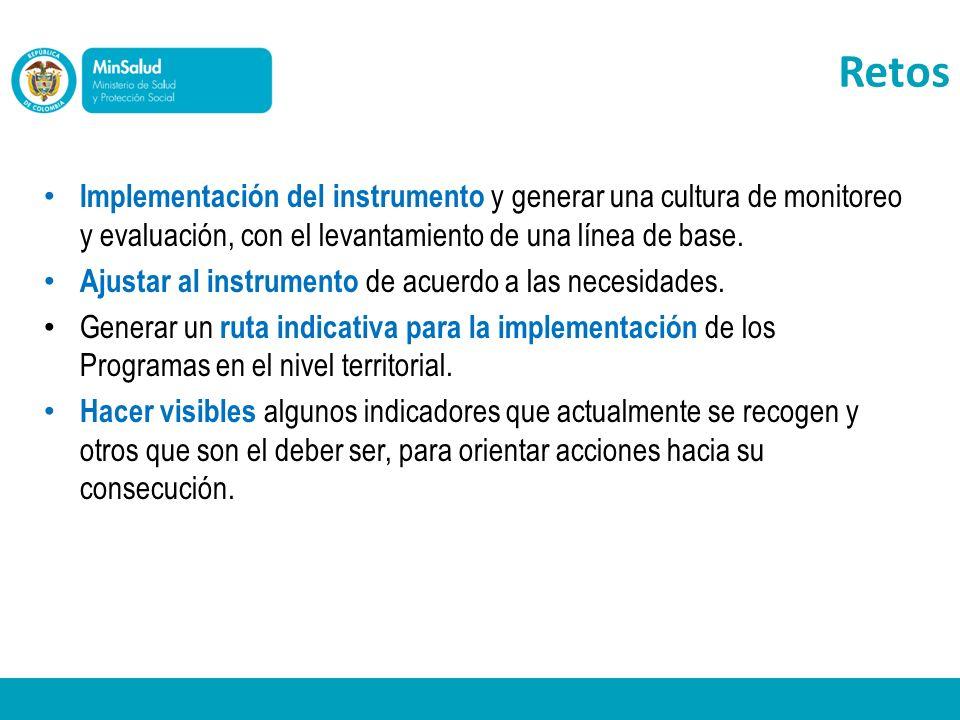 Retos Implementación del instrumento y generar una cultura de monitoreo y evaluación, con el levantamiento de una línea de base.