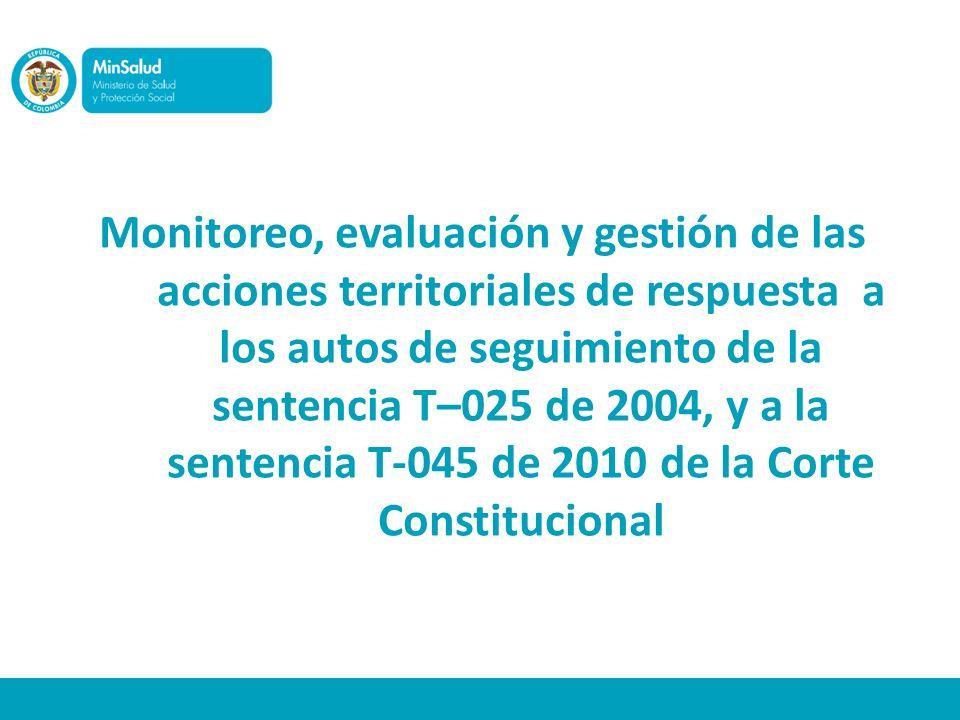 Monitoreo, evaluación y gestión de las acciones territoriales de respuesta a los autos de seguimiento de la sentencia T–025 de 2004, y a la sentencia T-045 de 2010 de la Corte Constitucional