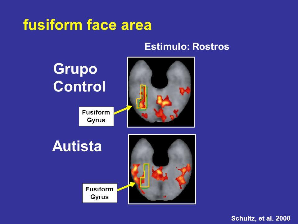 fusiform face area Grupo Control Autista Estimulo: Rostros Fusiform