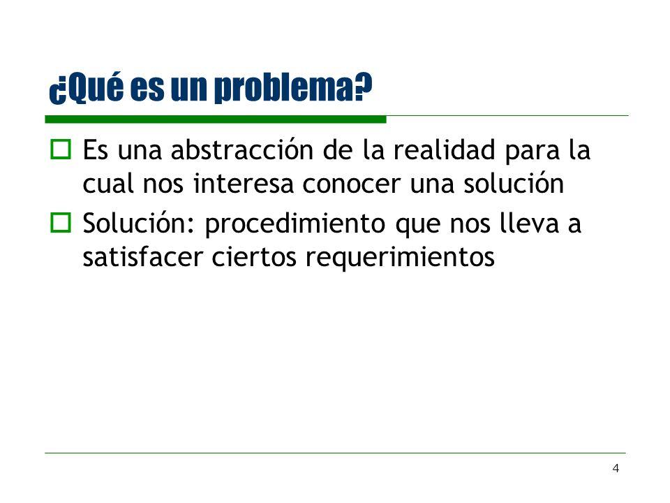¿Qué es un problema Es una abstracción de la realidad para la cual nos interesa conocer una solución.