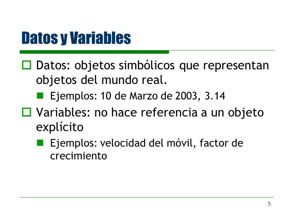 Datos y Variables Datos: objetos simbólicos que representan objetos del mundo real. Ejemplos: 10 de Marzo de 2003, 3.14.