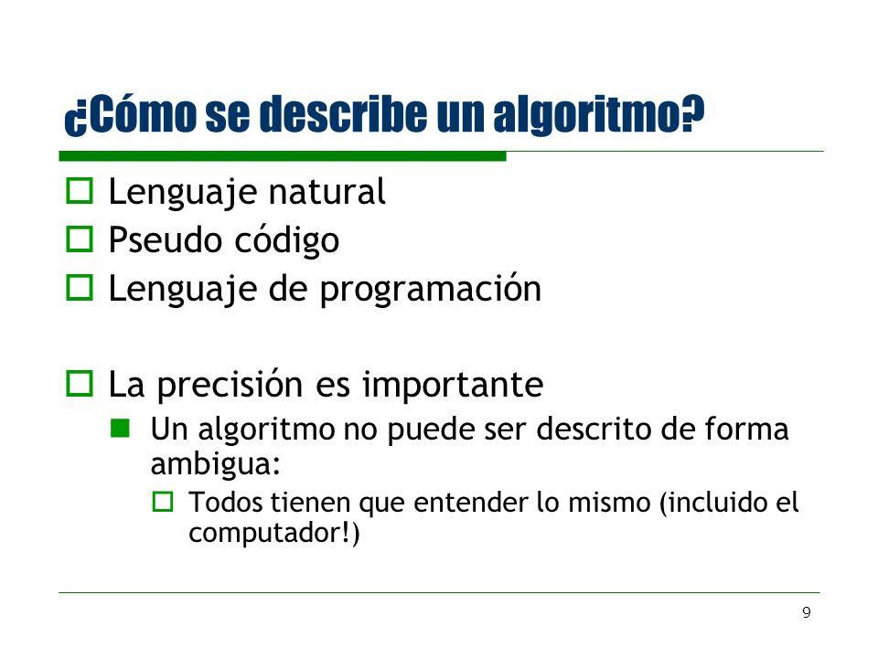 ¿Cómo se describe un algoritmo