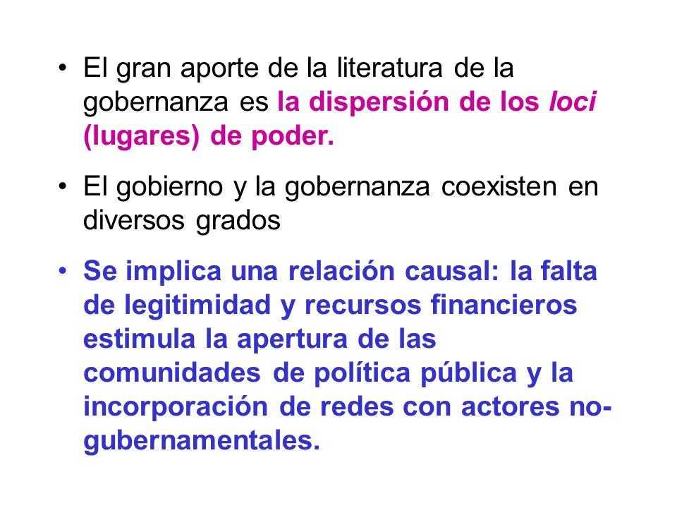 El gran aporte de la literatura de la gobernanza es la dispersión de los loci (lugares) de poder.