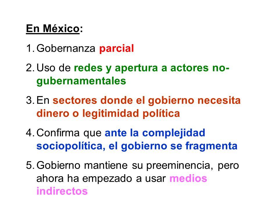 En México:Gobernanza parcial. Uso de redes y apertura a actores no-gubernamentales.