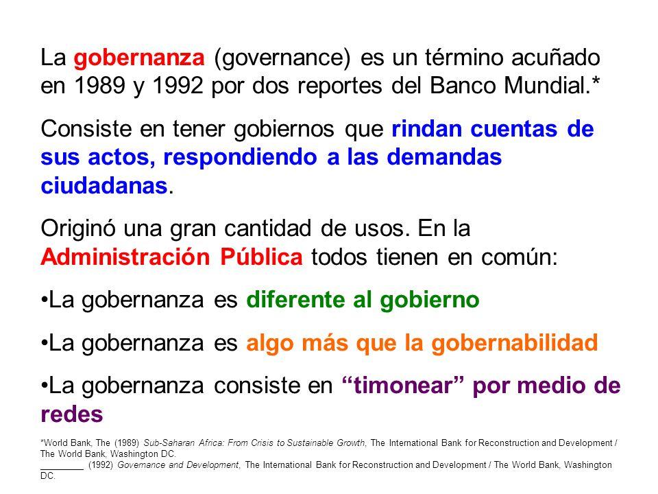 La gobernanza es diferente al gobierno