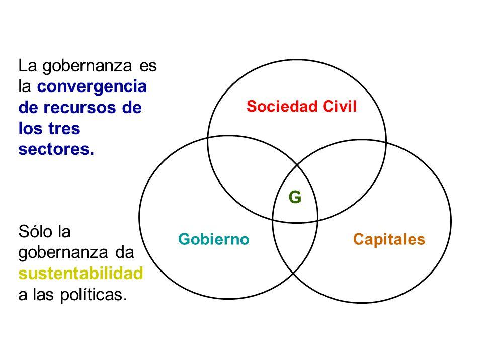 La gobernanza es la convergencia de recursos de los tres sectores.