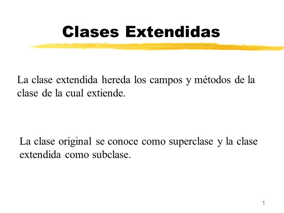 Clases Extendidas La clase extendida hereda los campos y métodos de la clase de la cual extiende.