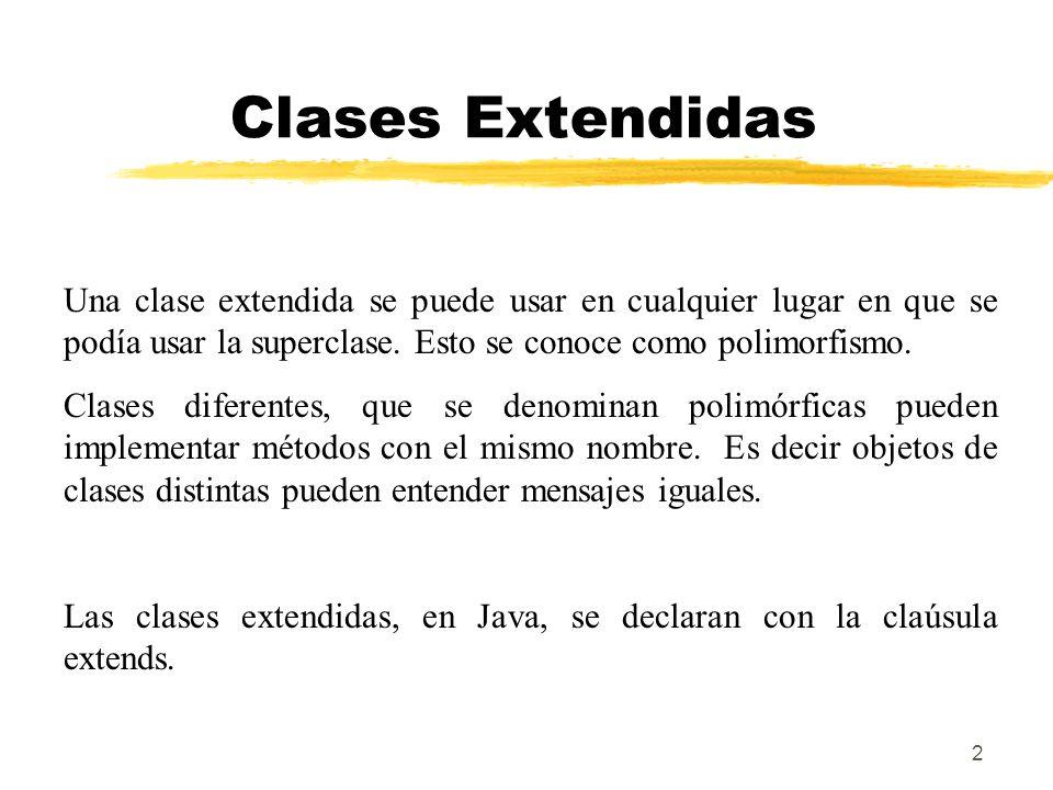 Clases Extendidas Una clase extendida se puede usar en cualquier lugar en que se podía usar la superclase. Esto se conoce como polimorfismo.