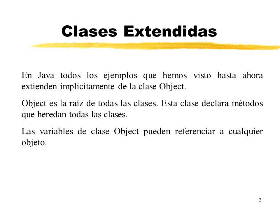 Clases Extendidas En Java todos los ejemplos que hemos visto hasta ahora extienden implicitamente de la clase Object.