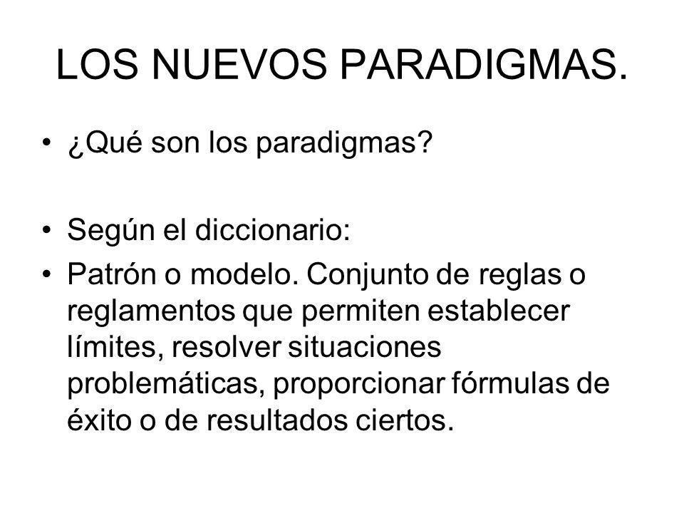 LOS NUEVOS PARADIGMAS. ¿Qué son los paradigmas Según el diccionario: