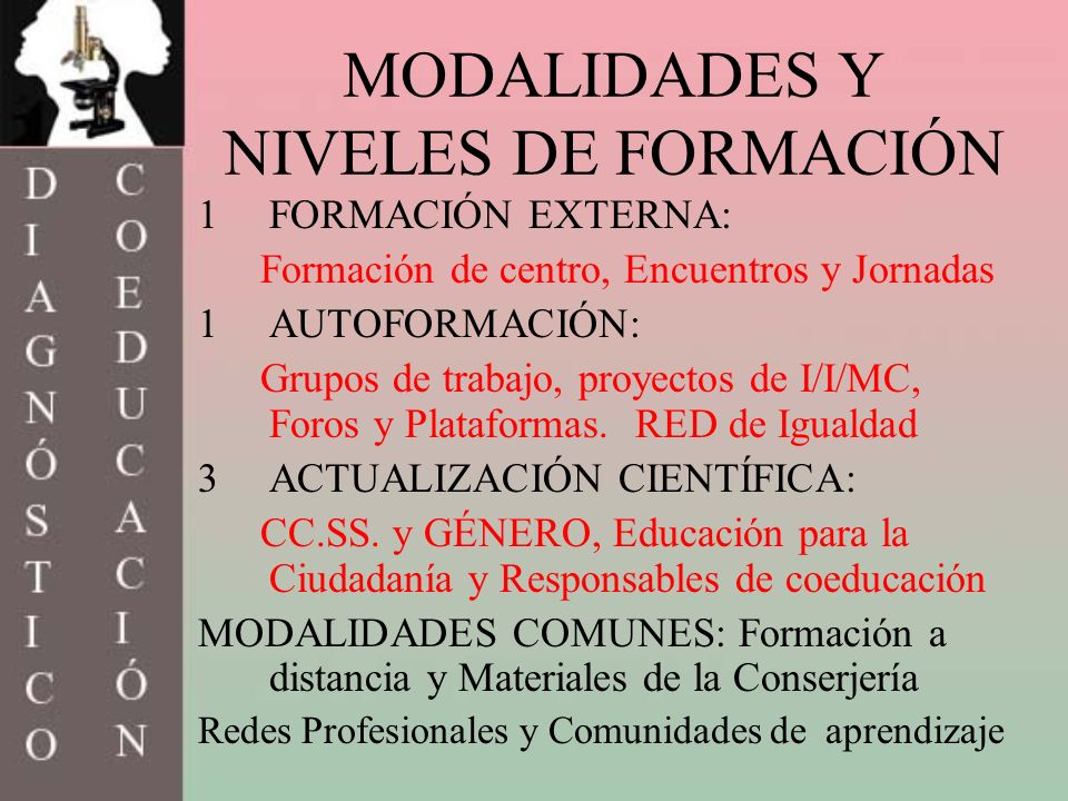 MODALIDADES Y NIVELES DE FORMACIÓN