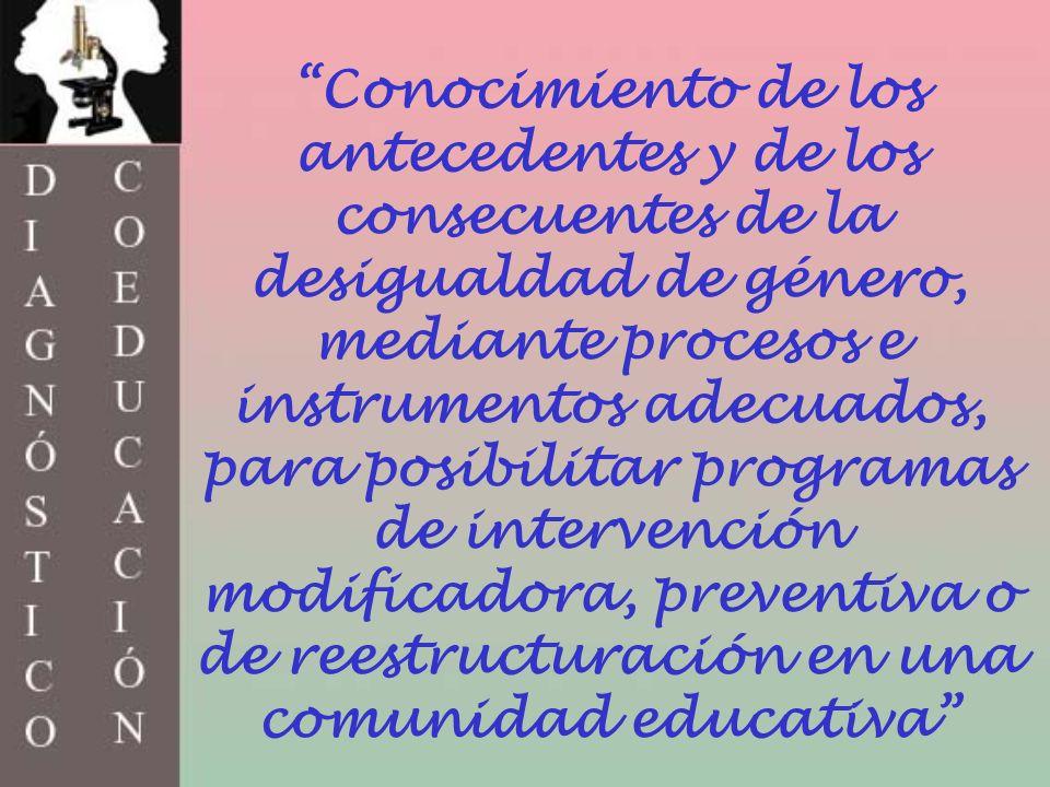 Conocimiento de los antecedentes y de los consecuentes de la desigualdad de género, mediante procesos e instrumentos adecuados, para posibilitar programas de intervención modificadora, preventiva o de reestructuración en una comunidad educativa