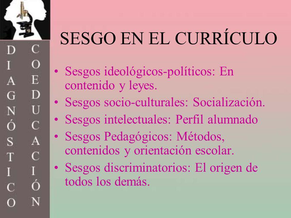 SESGO EN EL CURRÍCULO Sesgos ideológicos-políticos: En contenido y leyes. Sesgos socio-culturales: Socialización.