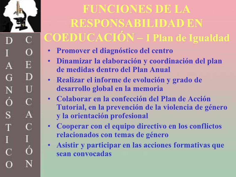 FUNCIONES DE LA RESPONSABILIDAD EN COEDUCACIÓN – I Plan de Igualdad