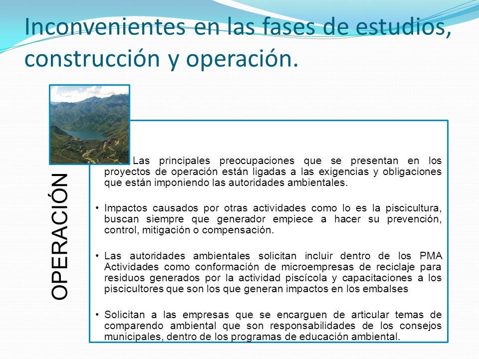 Inconvenientes en las fases de estudios, construcción y operación.