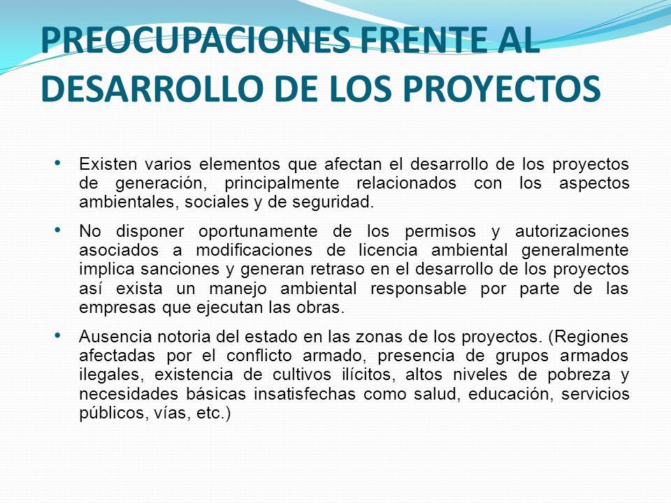 PREOCUPACIONES FRENTE AL DESARROLLO DE LOS PROYECTOS