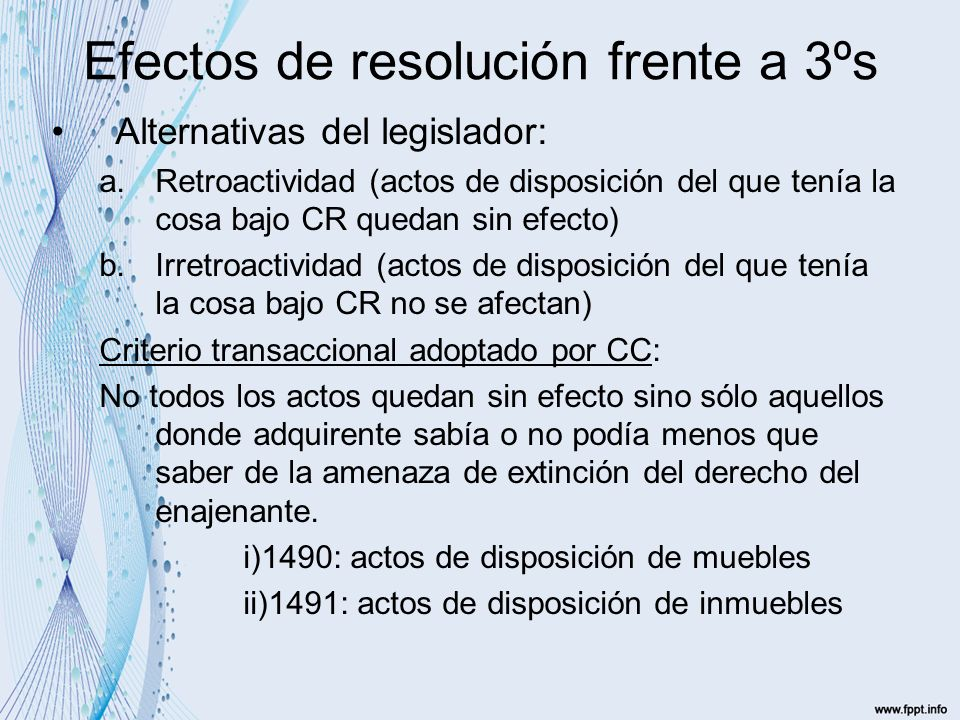 Efectos de resolución frente a 3ºs