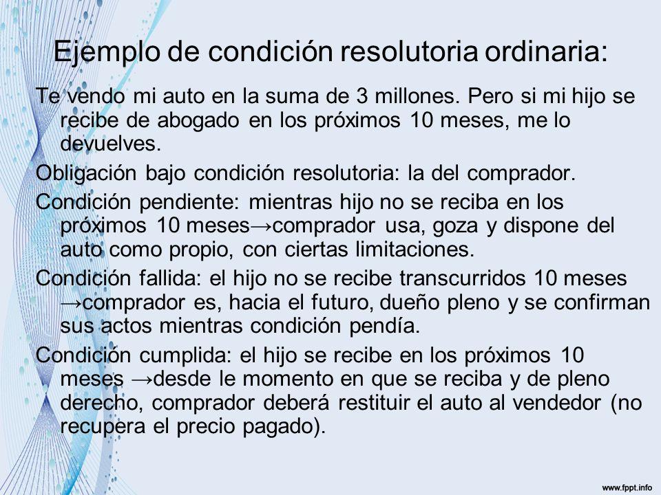 Ejemplo de condición resolutoria ordinaria: