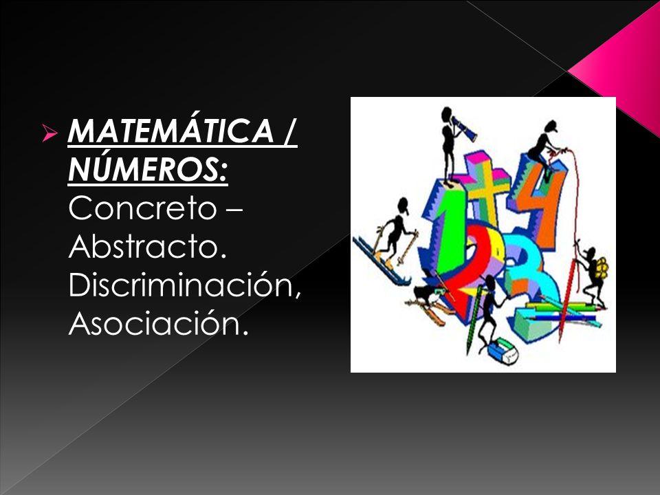 MATEMÁTICA / NÚMEROS: Concreto – Abstracto. Discriminación, Asociación.