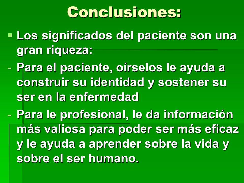 Conclusiones: Los significados del paciente son una gran riqueza: