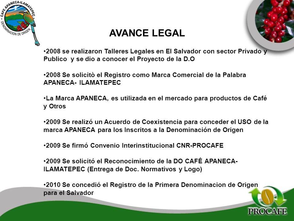 AVANCE LEGAL 2008 se realizaron Talleres Legales en El Salvador con sector Privado y Publico y se dio a conocer el Proyecto de la D.O.