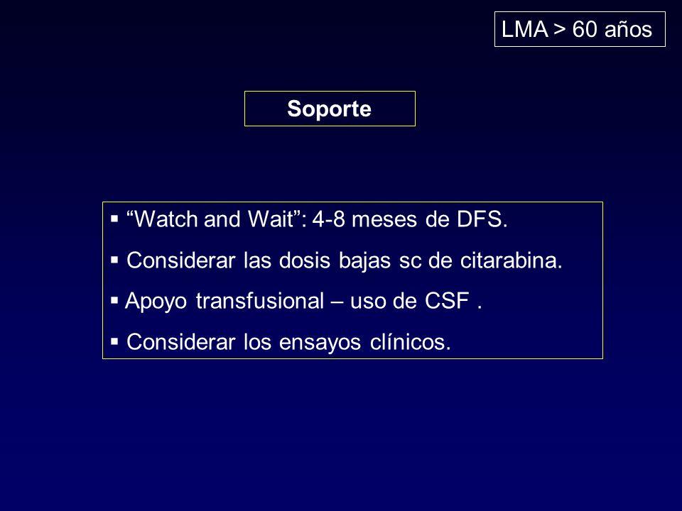 LMA > 60 años Soporte. Watch and Wait : 4-8 meses de DFS. Considerar las dosis bajas sc de citarabina.