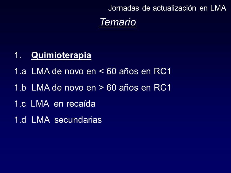 Temario 1. Quimioterapia 1.a LMA de novo en < 60 años en RC1