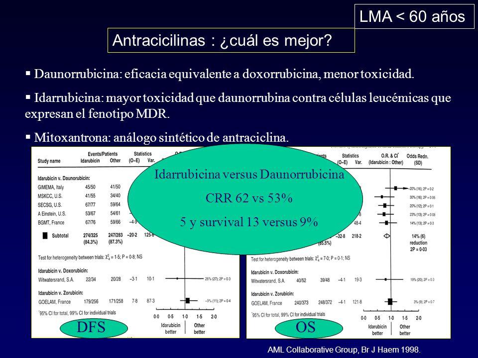 Idarrubicina versus Daunorrubicina