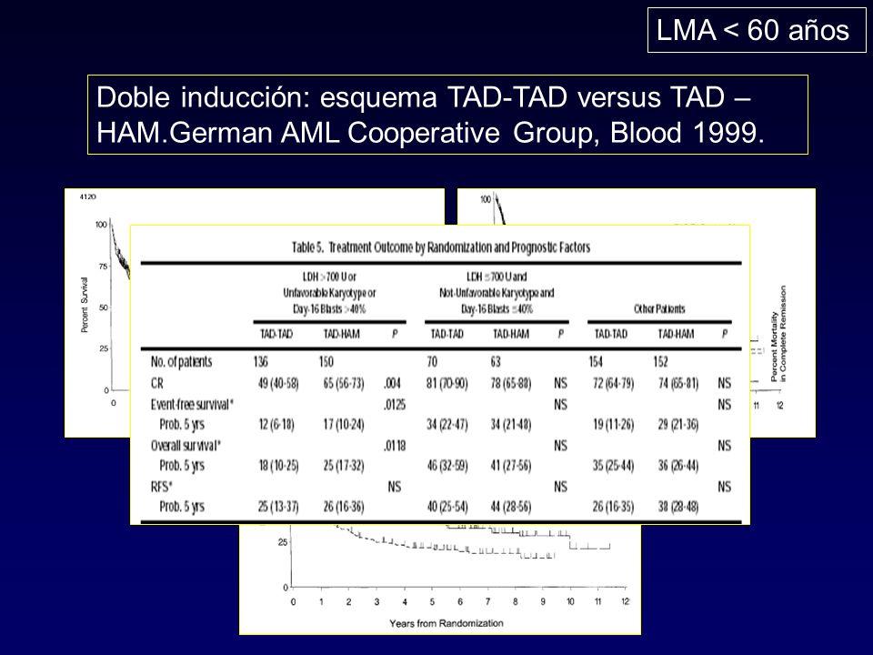 LMA < 60 años Doble inducción: esquema TAD-TAD versus TAD –HAM.German AML Cooperative Group, Blood 1999.