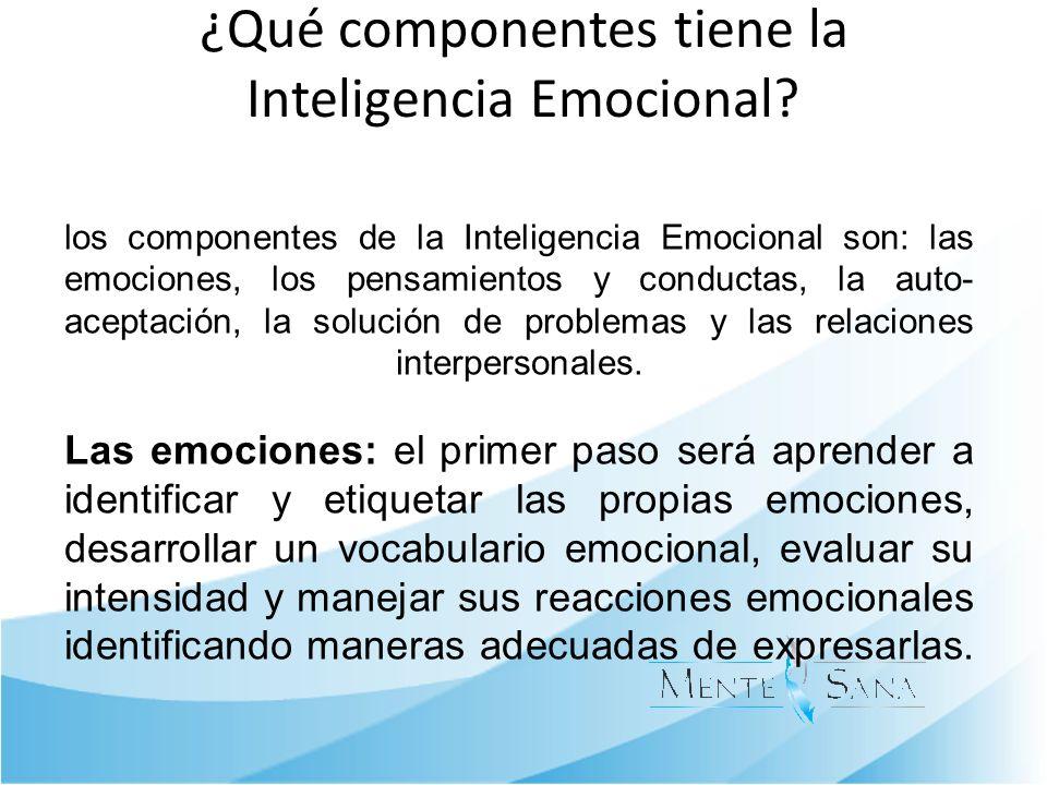 ¿Qué componentes tiene la Inteligencia Emocional