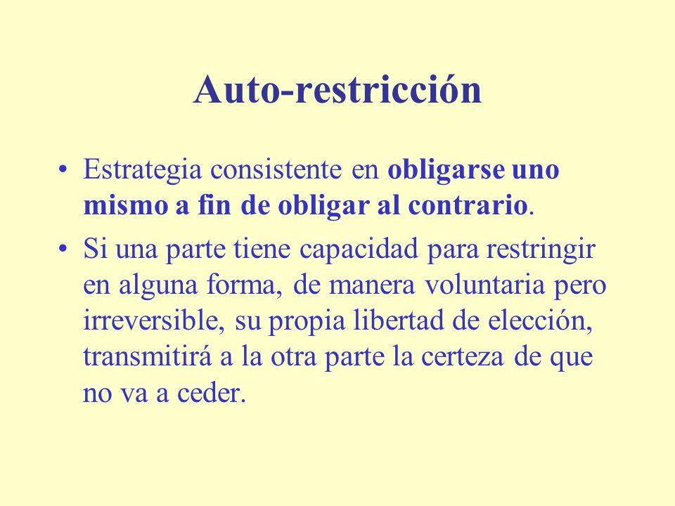 Auto-restricción Estrategia consistente en obligarse uno mismo a fin de obligar al contrario.