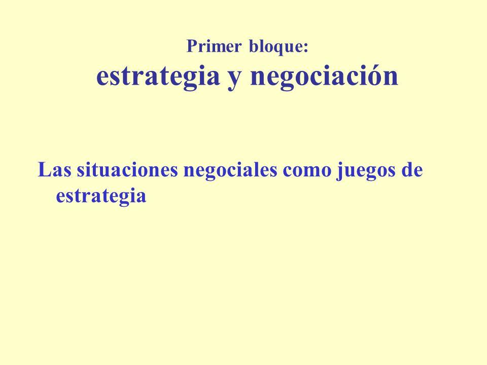 Primer bloque: estrategia y negociación