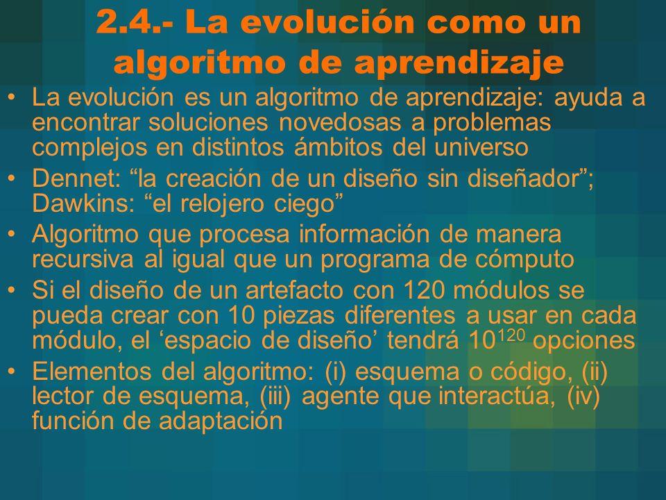 2.4.- La evolución como un algoritmo de aprendizaje