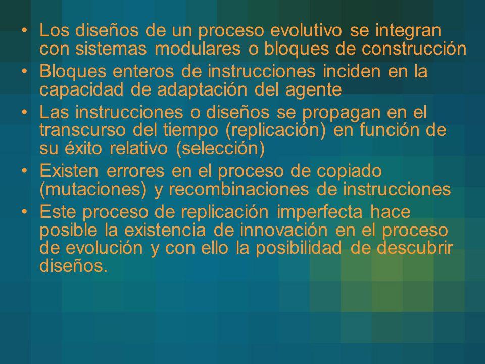 Los diseños de un proceso evolutivo se integran con sistemas modulares o bloques de construcción