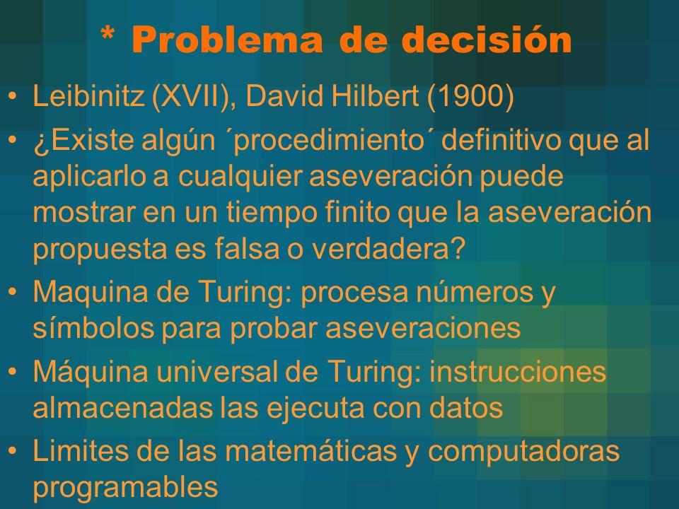 * Problema de decisión Leibinitz (XVII), David Hilbert (1900)