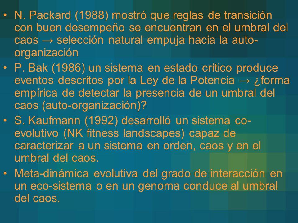 N. Packard (1988) mostró que reglas de transición con buen desempeño se encuentran en el umbral del caos → selección natural empuja hacia la auto-organización